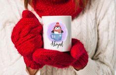 Cute penguin mug with personalized name. Hot cocoa mug for kids. Cute Christmas gift for children.Winter penguin mug. Christmas Gifts For Kids, Christmas Mugs, Panda Habitat, Penguin Mug, Cute Wild Animals, Cute Coffee Mugs, Cute Sloth, Cute Penguins, Secret Santa Gifts