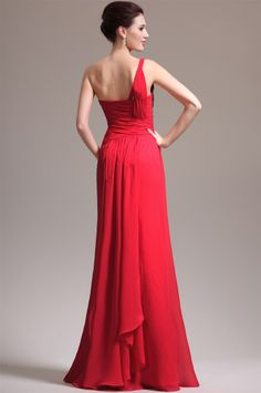 osell wholesale dropship Chiffon Beading Pleated One Shoulder Sleeveless Floor Length A Line Evening Prom Dresses $70.85