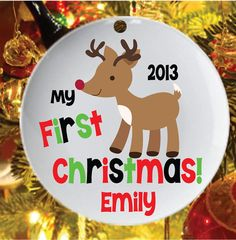 Personalized Christmas Ornament My First Christmas Reindeer