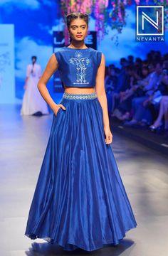 A #classy royal-blue #lehenga and crop-top by #AnitaDongre