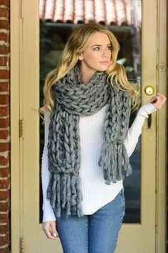 Chunky Braid Knit Scarf - Grey - $24.50