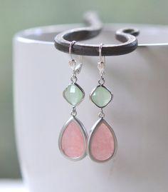 Bridesmaid Jewel Earrings in Coral Pink and Mint in Silver.  Bridesmaid Earrings. Gem Dangle Earrings.  Modern Fashion Earrings.