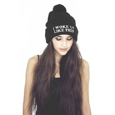 Woke Up Like This Pom Pom Beanie Black ($26) ❤ liked on Polyvore featuring accessories, hats, hair, hairstyles, people, acrylic hat, beanie cap, beanie hats, beanie cap hat and acrylic beanie