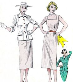 Vintage 1950s Butterick 6496 slim sheath dress and tailored jacket. Dual personality dress. Looks suit like with the long line tailored jacket,