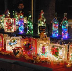 Lighted Decorated Glass Blocks | ... Photophile - Decorated and lighted bottles and glass bricks