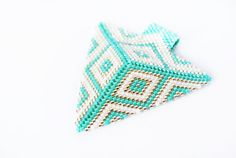 Triangle pendant delica beads pendant geometric by ByMimmiShop