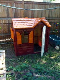 """Child's house turned Virginia Tech Hokie Hut   Not sure what a """"Hokie Hut"""" is but this would sure make a great dog house. ; )"""