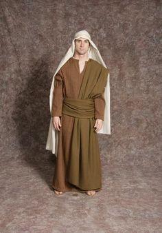$20.00 Nativity Man #4 brown/orange textured tunic, brown sash, tan striped headpiece