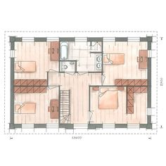 Villabouw villa Nachtpauwoog plattegrond verdieping House Layout Plans, House Layouts, House Floor Plans, Drawing Interior, Interior Design Sketches, House Map, Inside Home, Planer, Building A House