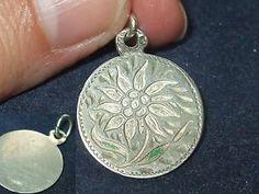 Vintage Silver Charm RARE German 800 Sterling Enamel Eidelweiss Flower Fob Old   eBay