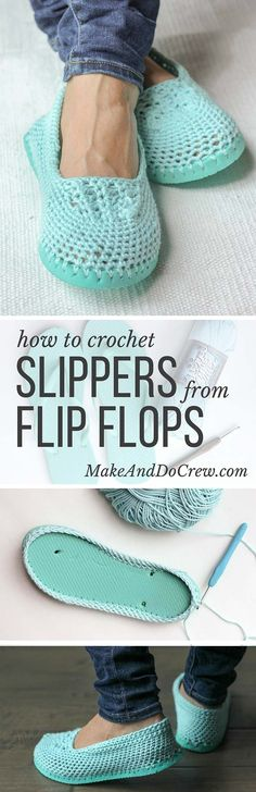 Cotton yarn and a flip flop sole make this free crochet slippers pattern perfect for warmer weather. These would be okay as summer shoes too. Crochet Booties Pattern, Crochet Slipper Pattern, Crochet Socks, Crochet Clothes, Knitting Projects, Crochet Projects, Knitting Patterns, Crochet Patterns, Crochet Designs