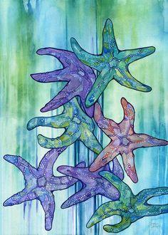 SEA STAR RAIN 5 x 7 print of watercolour star fish painting, beach decor childrens baby nursery room, magic underwater kingdom ocean spirit