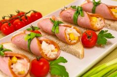 Sandwiches with rolls ham and salad