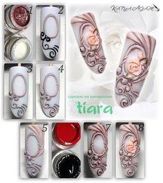 """МК """"Винтаж"""" выполнен на материалах Tiara 1. Для работы смешиваем 3Д гель """"Pearl pink"""" и 3Д гель ..."""