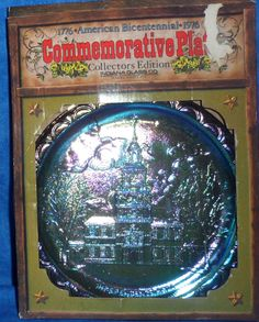 INDIANA GLASS BLUE CARNIVAL BICENTENNIAL  INDEPENDENDENCE HALL PLATE  E9 #IndianaGlass