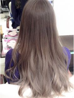 Medium ash brown hair with grey ends