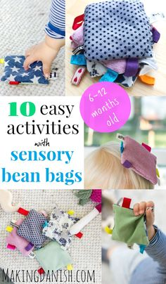 Wondering what to do with sensory baby beans bags? I've gathered 10 fun and super simple activities for your month old baby that's bound tp be a hit with your little one Bean Bag Activities, Baby Learning Activities, Infant Sensory Activities, Bean Bag Games, Baby Sensory Play, Learning Games For Kids, Sensory Bags, Montessori Activities, Baby Play