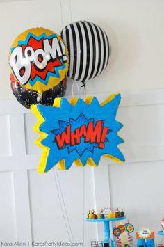 Modern Superhero themed birthday party by Kara Allen Superhero Baby Shower, Superhero Birthday Party, Lego Birthday, Boy First Birthday, Birthday Party Themes, Wonder Woman Birthday, Wonder Woman Party, Watermelon Birthday Parties, First Birthdays