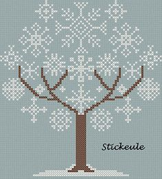 snowflake tree cross stitch (site is in German, but contains many free patterns that don't require translation) Xmas Cross Stitch, Cross Stitch Charts, Cross Stitch Designs, Cross Stitching, Cross Stitch Embroidery, Cross Stitch Patterns, Cross Stitch Freebies, Christmas Embroidery, Snowflake Embroidery