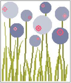 Contemporary meadow flowers. Modern cross von crossstitchtheline