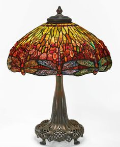"""Tiffany Studios """"Dragonfly"""" Table Lamp from the collection of Andrew Carnegie shade impressed TIFFANY STUDIOS NEW telescopic base impressed TIFFANY leaded glass and patinated bronze Tiffany Stained Glass, Stained Glass Lamps, Tiffany Glass, Leaded Glass, D Lighting, Studio Lamp, Contemporary Table Lamps, Antique Lamps, Antique Glassware"""