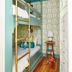 In this Rosemary Beach condo, dynamite design transformed a Rosemary Beach condo's weak spot into a kid-friendly win. Coastal Living Style Director Lindsey Ellis Beatty outfitted the teeny, seven-feet-by-six-feet space with custom millwork fit to the roo Beach Condo, Beach House Decor, Beach Homes, Best Blue Paint Colors, Blue Colors, Paint Colours, Turquoise Color, Bunk Beds Built In, Twin Beds