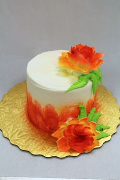 Orange Flower Cake! 💐 Orange Flowers, Custom Cakes, Panna Cotta, Cake Decorating, Birthdays, Ethnic Recipes, Party, Desserts, Ideas