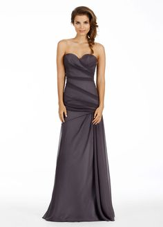 Graphite crinkle chiffon over Silver lining, A-line strapless bridesmaid gown, asymmetrical elongated bodice. Bridesmaids Dresses: Junior, Maternity & Flower Girl Dresses by Jim Hjelm Occasions - Bridesmaids and Special Occasion Style jh5471 by JLM Couture, Inc.
