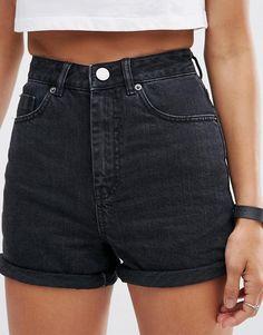 ASOS   ASOS Denim Mom Shorts in Black