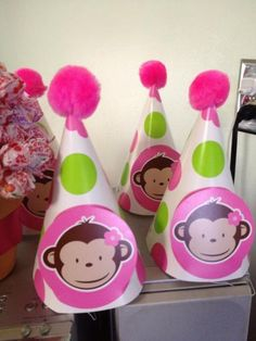 Party hats for my little girl's  Mod monkey Party