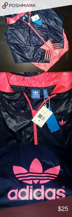 NWT Adidas Windbreaker Youth 11-12 (fits xs adult) Perfect condition wind breaker/rain resistant jacket shell. Neon pink/coral and navy. Adidas Jackets & Coats