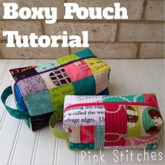 Pink Stitches: Boxy Pouch Tutorial This would make a very cute travel makeup case, I'll have to make one up very soon!