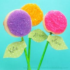 These cookie pops are adorable,and with names on the leaves, they make nice party favors.(The Decorated Cookie)
