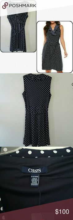 "Chaps Surplice Dress Brand new with tags petite Chaps Polka Dot Surplice dress. Ruffled neckline. No damages. Navy and white. Approx armpit to armpit without stretching 19"". See 4th pic for details. Chaps Dresses"