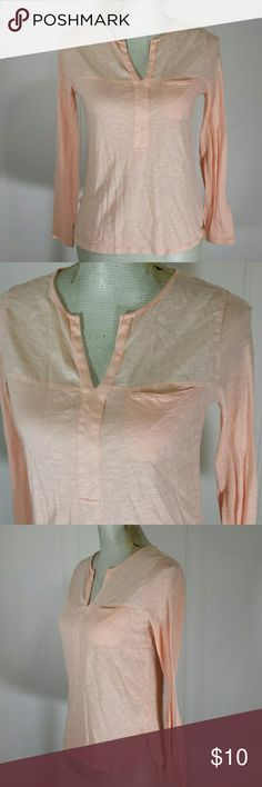 GAP Peach Sheer Summer long sleeve blouse top Type: Long Sleeve tee shirt  Make: Gap Color: peach Fabric: 100% cotton Size: women's xs Condition : excellent GAP Tops Tees - Long Sleeve