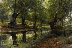 Malarstwo, Peder Monsted, Drzewa, Koryto, Rzeka, Jelenie, Sarny