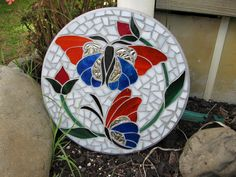 Butterfly Mosaic by Diane Kitchener Mosaic Crafts, Mosaic Projects, Stained Glass Projects, Stained Glass Patterns, Mosaic Patterns, Butterfly Mosaic, Mosaic Birds, Mosaic Flowers, Glass Butterfly