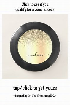 Gold Glitter Girly Luxury Modern Monogram Name Wham-O Frisbee - tap/click to personalize and buy #WhamOFrisbee #monogram, #girly, #glitter, #bridal #shower,