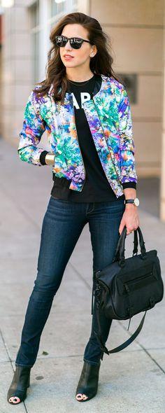 Multi Digital Floral Bomber Jacket #Vanilla Extract