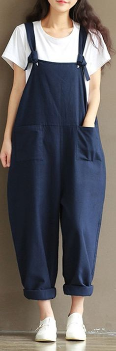 443b4272631ffa O-NEWE Casual Strap Pockets Jumpsuit Romper Trousers Overalls For Women # fashion #spring