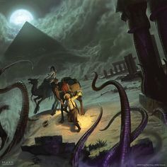 Eldritch Horror : Under the Pyramids by JakeMurray. DeviantART Box cover art for expansion to Fantasy Flight Games' popular tabletop game. Seems like anywhere you go in the Lovecraftian world, there's no escape from those pesky tentacles!