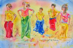 Part of my Children in Motion Series, Sack Race was painted in watercolor as I watched our annual beach games.