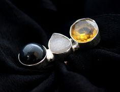 Awesome Titanium Druzy~Onyx~Quartz Ring Size 7. Starting at $1
