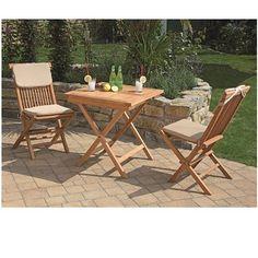 Gartenmöbel Tischgruppe Teakholz - Günstiges Set für Balkon und Garten