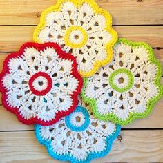 """#Colorful #crochetcoaster, used for setting a party table, or as a coaster for protecting your tables; I enjoyed crocheting these!#lovetocrochet…"""