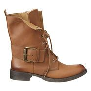 """Utilitarian charm with urban edge.  Round toe lace up boot.  Inside full zipper.  Buckle accents and pull tab.  Leather upper.  Measurements: heel 1 1/4"""", shaft 8"""" and circumference 11""""."""