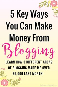 I never realized there are so many ways to make money from blogging. If you are interested in earning extra income or one day blogging full time, this post shares 5 different ways my blog makes money each month. It is really helpful to be diverse and earn money from different sources of revenue. Here's how I make money each month - this was my best month yet and I've only been a blogger for 1.5 years!