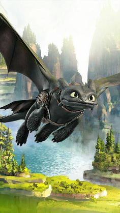 Toothless in flight, without Hiccup. Httyd Dragons, Cool Dragons, Dreamworks Dragons, Toothless And Stitch, Toothless Dragon, How To Train Dragon, How To Train Your, Cartoon Wallpaper, Disney Wallpaper