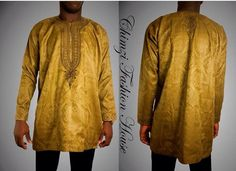 Stand out from the crowd with this African mens top (African mens shirt)!!!  Limited Edition ~ only 1 units    100% cotton ~ brocade