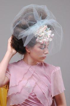 Vtg 50s Blue Pink Floral Tulle Netting Wedding Dress Veil Hat Races Fascinator | eBay